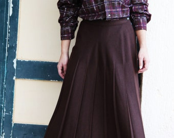 Brown pleated skirt | Etsy