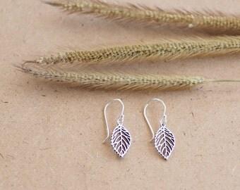 Tiny Leaf Dangle Earrings, Leaf Earrings, 925 Solid Sterling Silver Earrings, Nature Jewelry, Gift For Women, MI.22