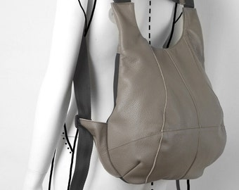 Leather bag, Leather Textile Bag, Handmade Bag,Taupe and Black Handbag,Taupe and Black Backpack,Shoulder Bag, Convertible Bag, Everyday bag