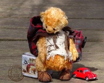 Artist Teddy Bear I Wanna Go to School. Orange Red Teddy Bear toy, collectible OOAK handmade.
