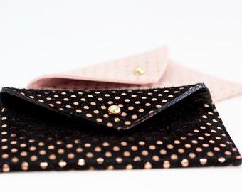 Leather Card Holder.Leather Card Case.Envelope Wallet.Leather Credit Card holder.Business Card Case.ID Wallet Minimal.Rose Gold Polka Dots.