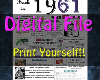 1961 Personalized Birthday Poster, 1961 History - DIGITAL FILE!!