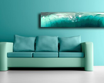 Abstract art print in greens turquoise and white, Water inspired sofa art, Ready to hang living room art, Sea inspired apartment decor