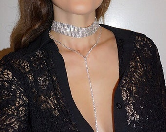 Briana Choker/Lariat Duo. Crystal Choker Lariat with Sparkly Glass Crystals. Trendy Choker Necklace Set. Sexy Choker.