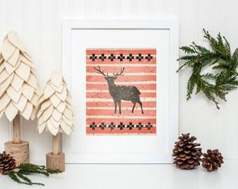 Christmas Art Print, Red stripes, Reindeer Art Print, Winter home decor, winter wall art, mantel decor, Printable Christmas decor, Deer art