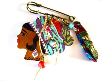 Art Doll brooch bohemia -Brooch pins multicolored doll bind ethnic doll-Art-cristal-wood brooch