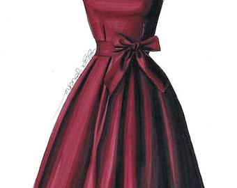 Red bow vintage 50's dress illustration