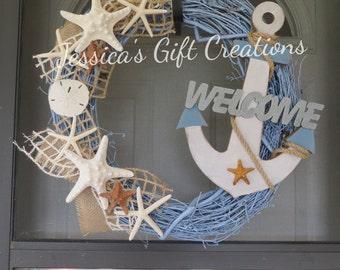 Made to Order Anchor Grapevine Wreath/Welcome/Front Door Wreath/Beach/Nautical/Starfish/Everyday/Seashells/Burlap/Summer/Housewarming Gift
