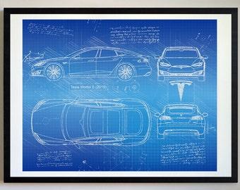 Tesla Model S (2016) Tesla Artwork, Blueprint Specs, Blueprint Patent Prints Posters, Tesla Decor, Art, Car Art, Cars (#226)
