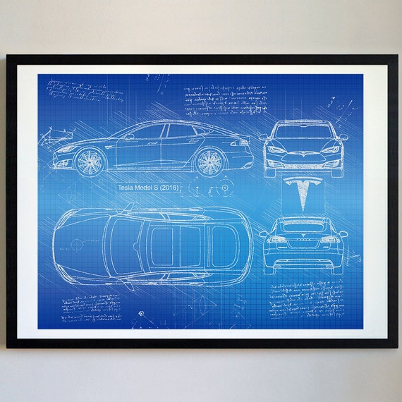 Tesla model s 2016 tesla artwork blueprint specs blueprint like this item malvernweather Image collections