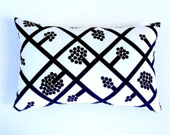 Marimekko Cushion Cover. Scandinavian Black and White Pillow. Graphic Black Lattice. Monochrome Throw Pillow. Black Cushions. Black Accents.