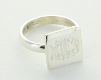 Monogram Square Ring - Personalized Square Ring - Square Ring - Monogram Ring