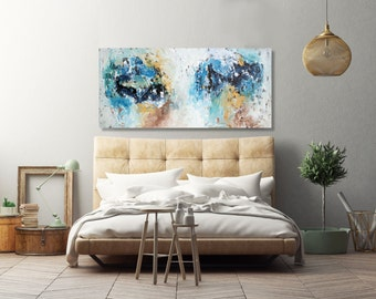 LARGE ABSTRACT Painting, XL Blue Abstract Art, Modern Art Canvas Painting, Original Acrylic Painting, Wall Art, Wall Decor Home Interiors