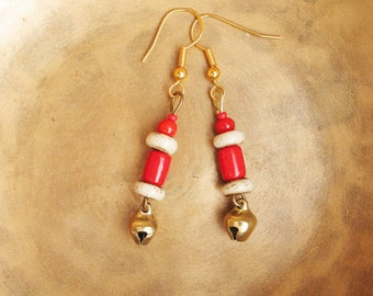 Ethno red, white bells, Coco beads, earrings, golden, Festival, Goa, hippie, boho, alternative, indie, individual, ethnic jewelry