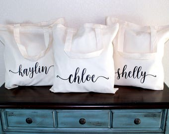 Name Bridesmaid Tote - Bridesmaid Gift Bag - Bridesmaid Gift Bag - Bridesmaid Box - Bridal Party Bag - Wedding Tote - Personalized Tote Bag