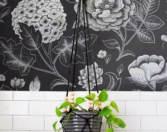 GARDEN ROSE and HYDRANGEA flower print peel & stick wallpaper, Geranium wall decal, Hydrangea wall covering, Hydrangea wall sticker, 150
