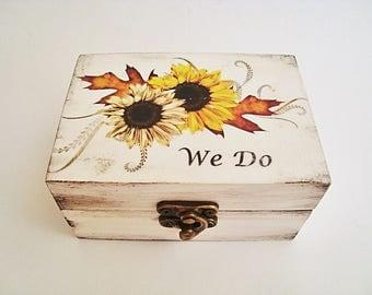 Sunflower wedding rings box, We Do, Ring bearer Wooden ring box Ring holder Custom wedding  Box for rings Sunflower Personalized wedding box