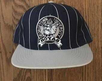 Vintage 90s Starter Georgetown Hoyas NCAA Snapback Hat Baseball Cap