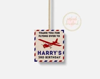 Vintage Airplane Favor Tags, Airplane Party, Baby Shower, Airplane Birthday, Birthday Party Favor Tag, Printable, INSTANT DOWNLOAD, Vintage