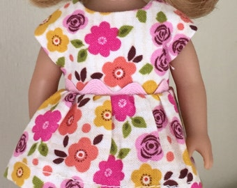"""6"""" mini doll clothes:  floral play dress with leggings"""