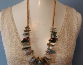 Vintage Beaded Stone Necklace 70's Earthtones Wood Jagged Stones 1970's Boho Bohemian Hippie Festival Fashion Statement Necklace Fabulous