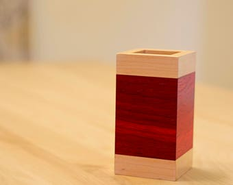 Wooden Pencil Holder in Padauk and Maple Wood – Minimalist Décor Wood Desk Accessories