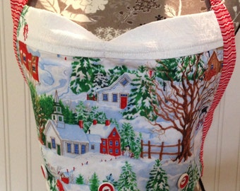 Embroidered Apron Bodice Button On vintage winter scene embroidered  eat dessert first  Reversible