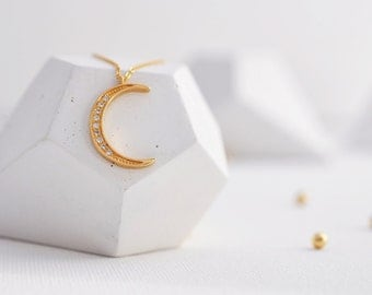 Moon Necklace, Gold Moon Necklace, Moon Necklace, Moon Necklace Gold, Star and Moon Necklace, Moon, Constellation Necklace, Gold Moon