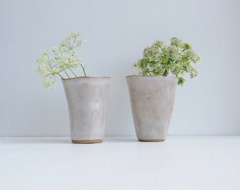 Simple white organic ceramic vase, white pottery vase, stoneware pottery vase, white flower vase, rustic white vase, white bud vase, vessel