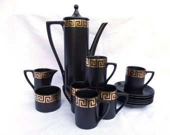 Portmeirion Coffee Set, Immaculate Unused Condition, Complete 15 Piece, Mid Century 1963, Black Gold Greek Pattern, Susan Williams Ellis,