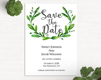 Summer save the date template Garden wedding announcement Greenery save our date printable Green wedding save date Digital download 1W72