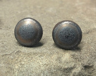 10mm Dark Bronze Stoneware Earring Studs - Large Ceramic Stud Earrings - Ceramic Earring - Ceramic Ear Studs - Handmade Stud Earrings