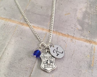 Police Officer necklace, police woman necklace, Police Badge Charm, Initial Necklace, detective, police, state trooper, FBI, DEA, for her