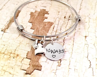Charm bracelet, Girlfriend bracelet, Always heart bracelet, for daughter, best friend, adjustable bangle, stainless steel bracelet