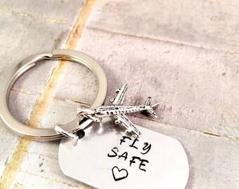 Airplane key ring, Airline pilot keychain, airplane keyring, Fly Safe, stewardess keyring, flight attendant keychain, Travel Abroad, Navy