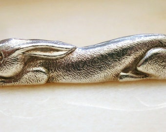 Vintage french Zoomorphic 6 Knives Rests Rabbits in silver plated - 6 doors-metal knives silver Zoomorphic rabbit