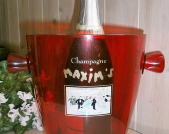 Vintage French Maxim's Paris red Champagne Bucket / / Parisian Style / / Ice Bucket / / Red.