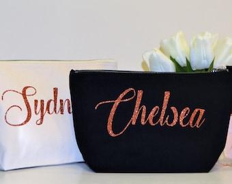 Rose gold/ Copper Bridesmaid gift bag, cosmetic bag, vanity bag, cream bag, personalised Makeup bag