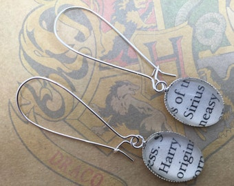Harry and Sirius - Harry Potter inspired glass earrings for pierced ears, made from recycled book page