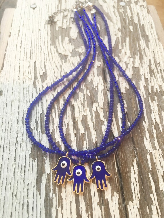 Hamsa Pendant & Blue Crystal Necklace, Choker