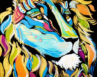 War Chief Lion Colorful Print of Original Acrylic on Canvas--Tribal Collection