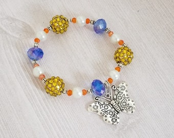 Butterfly Bracelet Girl's Bracelet Beaded Elastic Bracelet Girl's Bead Bracelet Stretch Bracelet Mixed Bead Bracelet for Girl Bead Jewelry