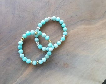 Amazonite Beaded Bracelet - Amazonite Bracelet - Beaded Bracelet - Stretch Bracelet