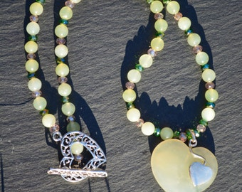 Jade heart pendant necklace with jade beads and glass detail