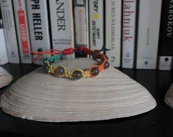 Grey agate/rainbow hemp adjustable hand-knotted bracelet