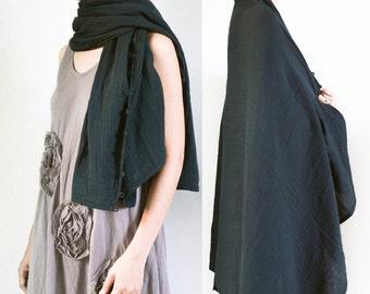SALE - 30% Disc, Scarf, Kimono Long Sleeve Shrug Bolero Jacket with Coconut Shell Buttons, Poncho, Wrap Cape, Plus Size, Free Size, Black