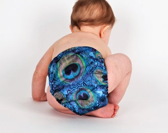 Pretty Peacock Cloth Diaper - Made to Order - Pocket Diaper - All-in-two Diaper - AI2 Diaper - Reusable - Washable – One Size Diaper