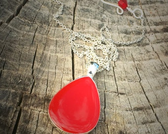 Sterling Silver Necklace, Red Resin Necklace Pendant, Teardrop Necklace Pendant, Sterling Silver Teardrop Necklace