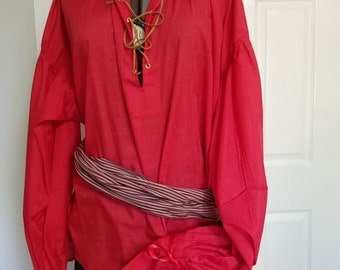 Renaissance - Men's Shirt - Pirate - Bright Red - Extra Large