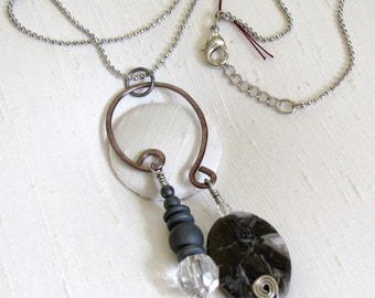 Freeform Organic Necklace ~ Jasper, Hematite, and Crystal ~ Shades of Grey ~ Silver Bead Chain - 18 inches